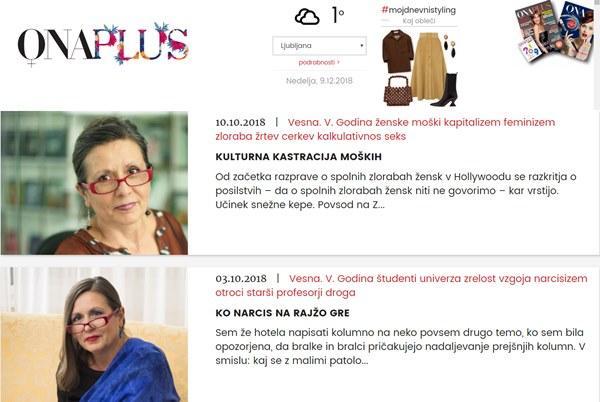 Kaj je Vesna V. Godina zapisala o ženskah, da so njen članek odstranili s portala OnaPlus